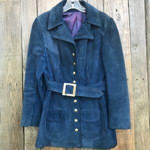 Vintage Blue Suede Jacket Small